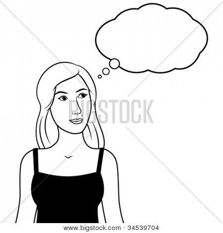 Vector thinking woman pensive. Including thought bubble with copy space. Black and white line art illustration. EPS8.