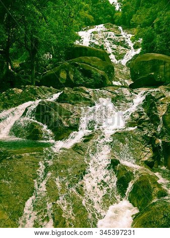 A Waterfall In Thailand. Natural,travel , Stream, Summer, Torrent