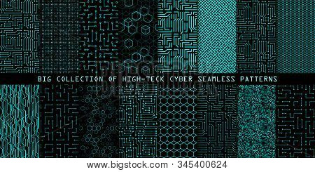 Set Of Seamless Cyber Patterns. Circuit Board Texture. Collection Of Digital High Tech Style Vector