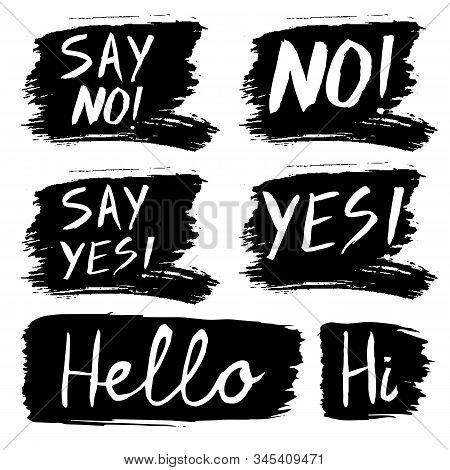 Vector Set Of Grunge Lettering And Hand Drawn Ink Paint Stains Isolated On White Background. Short Q