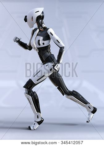 3d Rendering Of A Female Android Robot Running. Futuristic Ai Concept.