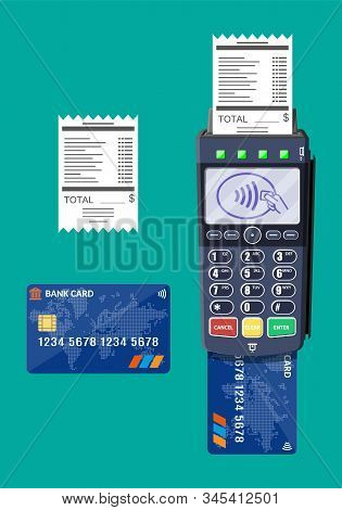 Modern Pos Terminal With Card And Receipt. Bank Payment Device. Payment Nfc Keypad Machine. Credit D