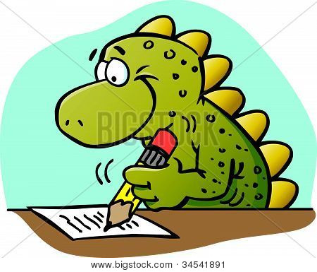 Cartoon illustration of a dinosaur writing with a pencil poster
