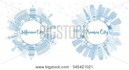 Outline Jefferson City and Kansas City Missouri Skylines with Blue Buildings and Copy Space.  Business Travel and Tourism Concept with Historic Architecture. Cityscapes with Landmarks