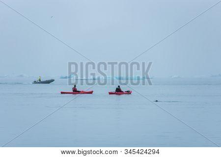 Man Paddling In A Kayak, Jokulsarlon, Iceland