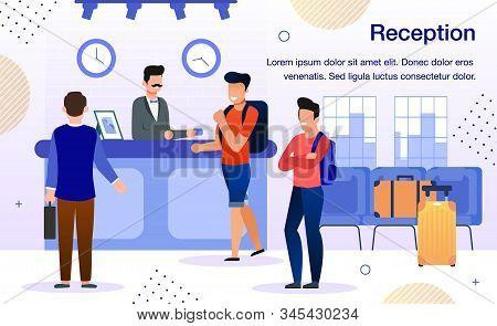 Arriving To Comfortable Hotel Trendy Flat Vector Advertising Banner, Promo Poster Template. Male Rec