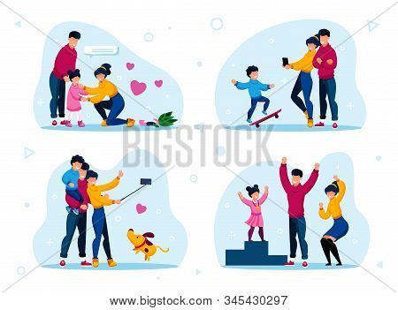Happy Family Life Situations Trendy Flat Vector Concepts Set. Parents Calming Down Crying, Worried D