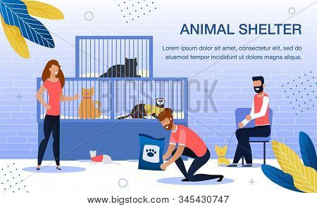 Animal Shelter Volunteering, Homeless Pets Adoption Trendy Flat Vector Banner, Poster Template. Fema