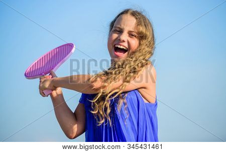 Full Of Energy. Healthy Lifestyle. Small Girl With Tennis Racquet. Summer Sport Activity. Energetic