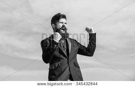 Optimistic Mood. Success And Luck. Being Optimistic. Man Bearded Optimistic Businessman Wear Formal
