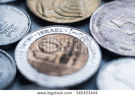 Close Up Macro On Israeli Sheqel Coins