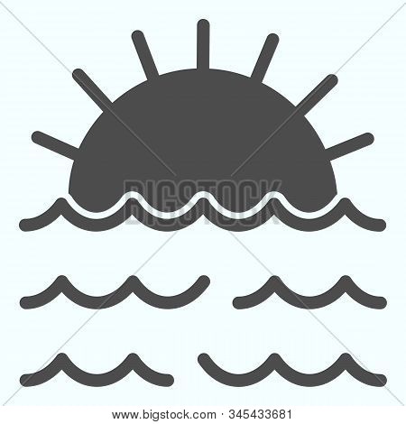 Sunset Solid Icon. Sunset And Sea Waves Illustration Isolated On White. Marine Sunset Glyph Style De