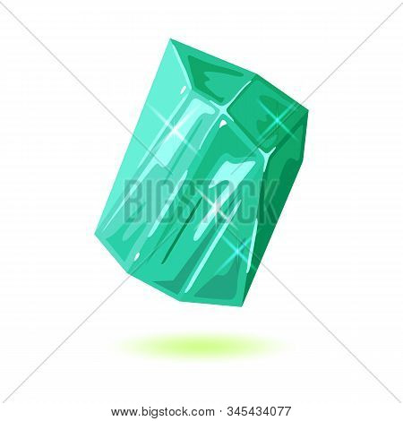 Chunk Of Natural Polished Beryl. Green Iridescent Mineral, Gemstone Vector Illustration Isolated On