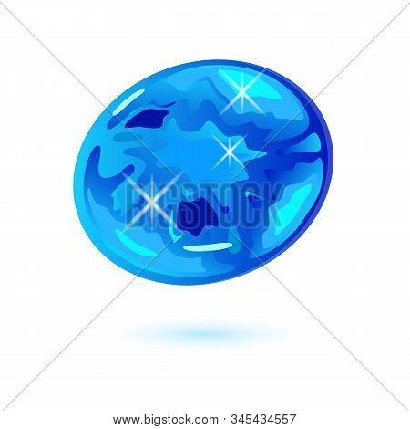 Sparkling Light Blue Oval Cut Euclase. Iridescent Transparent Mineral, Gemstone Vector Illustration