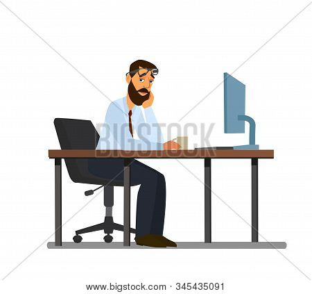 Overwork, Office Routine, Depressed Corporate Employee Sitting In A Chair. A Tired Person Works Over