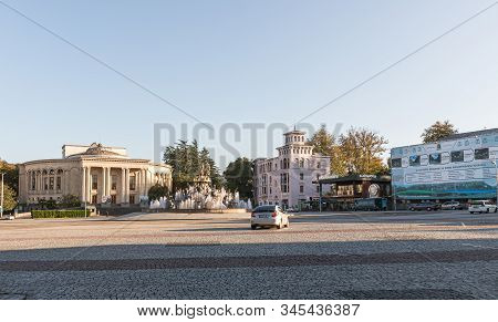 Kutaisi, Georgia, October 13, 2019 : Central Square With Colchis Fountain In The Old Part Of Kutaisi