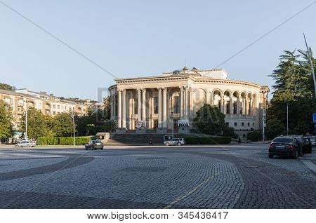 Kutaisi, Georgia, October 13, 2019 : The Meskhishvili Theatre Building On The Central Square With In