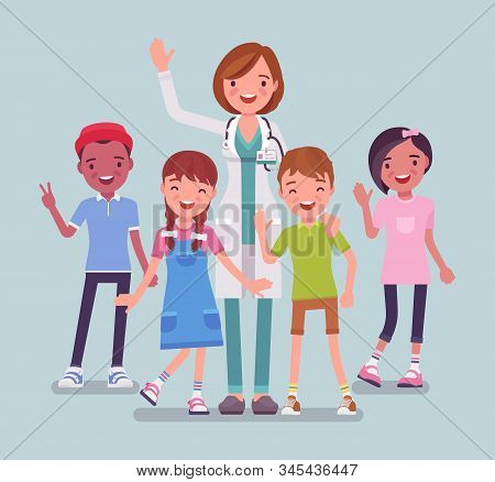 Female Pediatrician Doctor, Medical Practitioner For Children. Professional Physician, Special Train