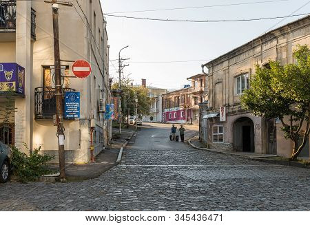 Kutaisi, Georgia, October 13, 2019 : The Newport Street In The Old Part Of Kutaisi In Georgia, In Th