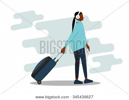 African American Girl With A Suitcase. African Girl On Vacation. Beautiful African American Woman. V