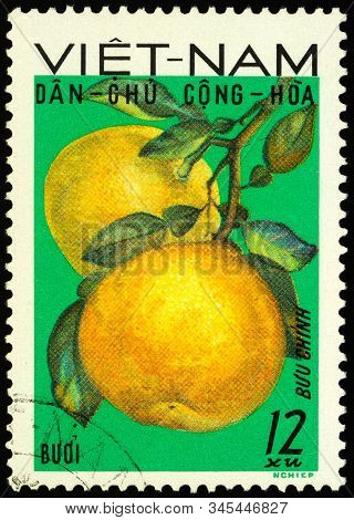 Moscow, Russia - January 16, 2020: Stamp Printed In Vietnam Shows Pomelo, Or Shaddock (citrus Maxima