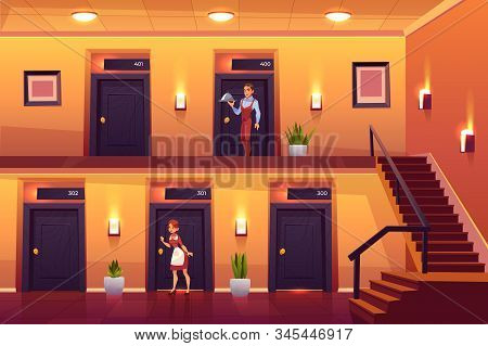 Hotel Staff Housemaid And Waiter Service Clients Bringing Meal At Room And Knocking Door For Cleanin