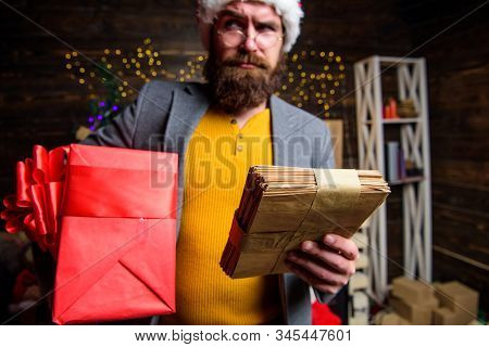 Man Mature Bearded With Eyeglasses Received Post For Santa. Gifts Delivery Service. Post For Santa C