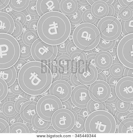 Russian Ruble Silver Coins Seamless Pattern. Wonderful Scattered Black And White Rub Coins. Success