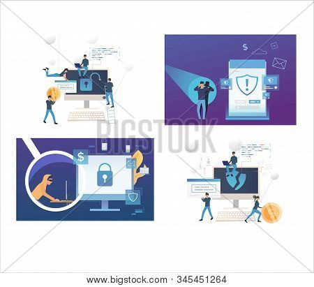 Set Of Cybercriminals Breaking Into Personal Account. Flat Vector Illustrations Of People Stealing P