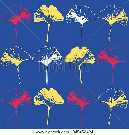 Vector Seamless Pattern Ginko Wax With Yellow, White, Red Ginkgo Leaves