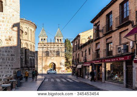 Toledo, Spain - December 6, 2019: The New Bisagra Gate And Santiago Del Arrabal Church. Real Del Arr