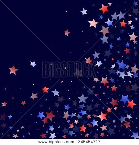 American Presidents Day Stars Background. Holiday Confetti In Usa Flag Colors For Patriot Day. Styli