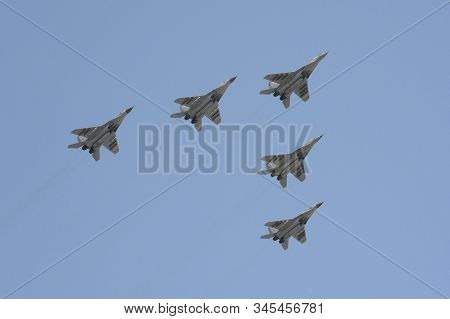 Moscow, Russia - May 7, 2019:rehearsal Of The Victory Day Celebration (wwii). The Airshow On The Red