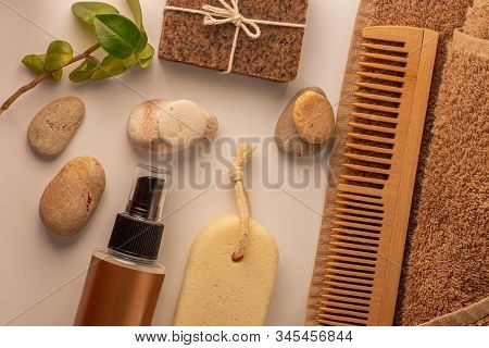 Spa And Wellness Concept, Natural Coffee Scrub Soap, Oil Cosmetics Spray, Peeling Sand Stone, Wood H