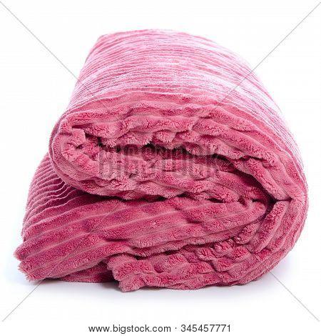 Pink Plaid Blanket On White Background Isolation