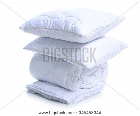 Folded White Soft Warm Blanket With Pillows On White Background Isolation