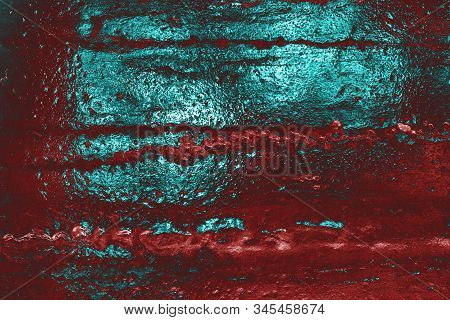 Awesome Red And Cyan Ice Background. Background With Empty Space Fot Text Or Image.