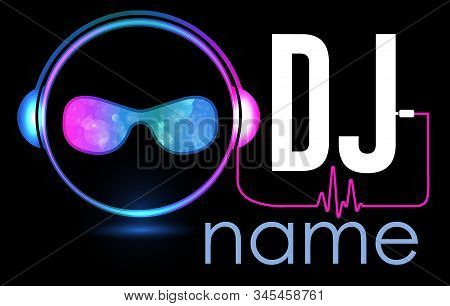 Dj Logo Design. Creative Vector Logo Design With Headphones And Dj With Glasses. Music Logotype Temp