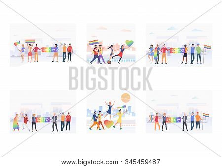 Lgbt Pride Event Set. Homosexual People Walking With Rainbow Hearts And Flags. Flat Vector Illustrat