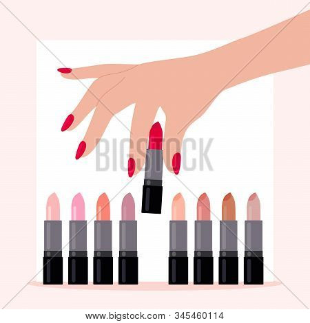 A Womans Hand Chooses A Red Lipstick.the Concept Of Choice, Beauty, And Sexuality.to Be Bright And B
