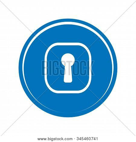 Blue Key Hole Icon Vector Sign Isolated On White Background. Blue Key Hole Symbol Template Color Edi