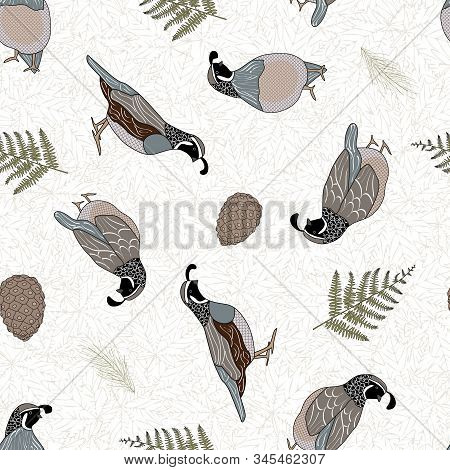 Vector Quail Birds, Ferns And Pinecones On Beige Background Seamless Repeat Pattern. Background For