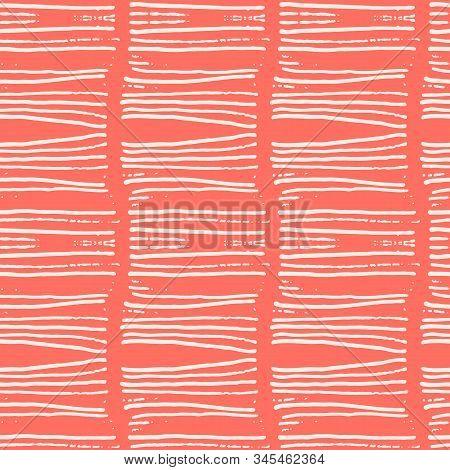 Terracotta And Beige Tie Dye Seamless Pattern.  Shibori Seamless Print. Watercolor Hand Drawn Batik.