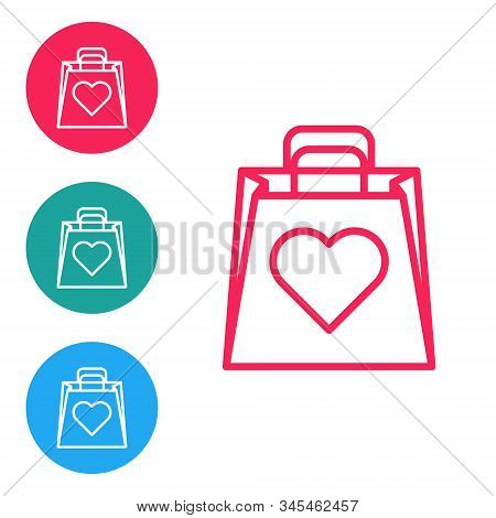 Red Line Shopping Bag With Heart Icon Isolated On White Background. Shopping Bag Shop Love Like Hear