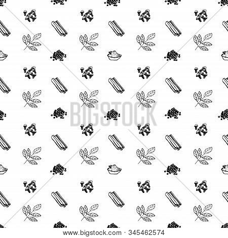 Vector Seamless Pattern Of Spices, Cinnamon, Turmeric, Bay Leaf, Cloves, Black Pepper