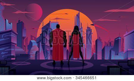 Superhero Couple Watching Over Futuristic City At Sunset.