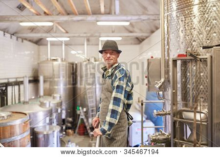 Man as a winemaker or master brewer in the winery or brewery