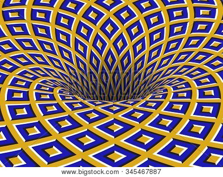 Rotating Hole Of Moving Blue Yellow Squares Ornament. Vector Optical Illusion Background.