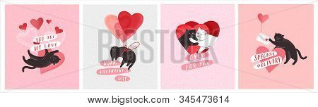 Cute Cats In Love. Romantic Valentines Day Greeting Card Or Poster. Cat Give Heart, Cople Cats, With
