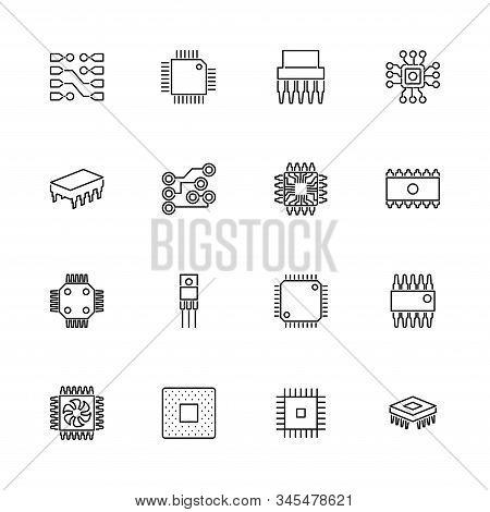 Computer Chips, Processor Outline Icons Set - Black Symbol On White Background. Computer Chips, Proc